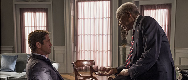 "Gerard Butler und Morgan Freeman in ""Angel Has Fallen"""